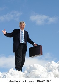 Businessman in clouds