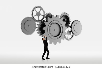 Businessman with cogwheel elements. Teamwork organization concept