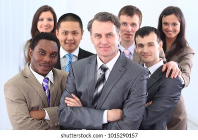 businessman and cohesive business team