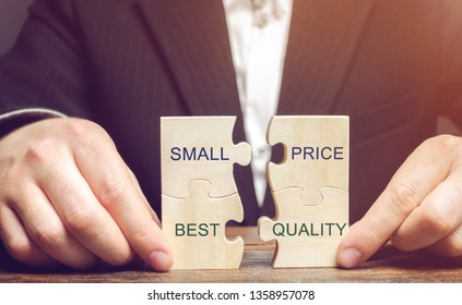 A businessman collects wooden puzzles with the words Small price - best quality. The concept of profitable deals for buyers. Low cost of goods. Quality service. Justified money. High rating. Marketing