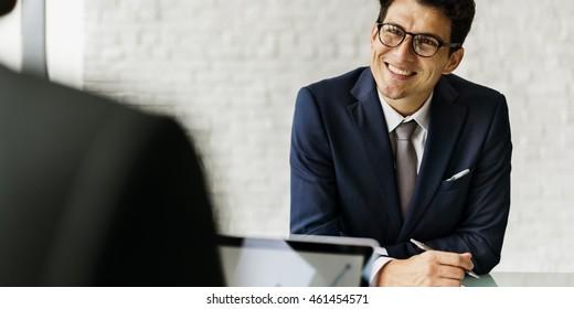 Businessman Communicating Meeting Success Concept