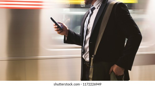 businessman commuting  in the city.
