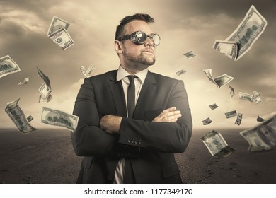 Businessman concept with dollar bills