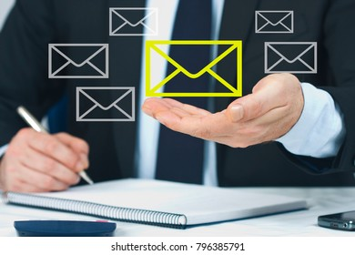 businessman with the concept of electronic mail, e-mail