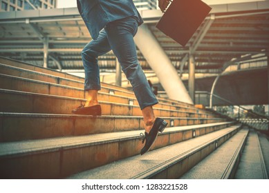 Businessman concept running forward to his goal, A man hurry up go to work, competitive business strategy,