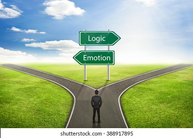 Businessman concept, Sign Emotion or Logic road to the correct way.