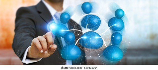 Businessman connecting blue icon social network with his finger 3D rendering