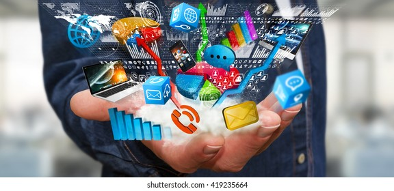 Businessman connecting colorful tech devices and chart interacting with each other '3D illustration'