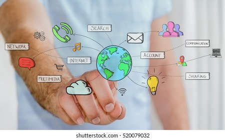 Businessman connecting hand drawn multimedia icons with his finger