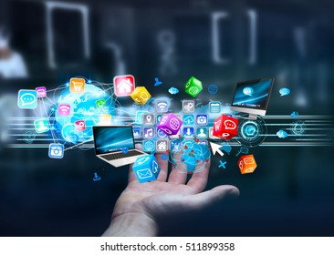 Businessman connecting icons applications to each others 3D rendering
