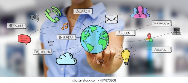 Businessman connecting multimedia icons together with his hand