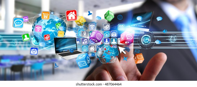 Businessman connecting tech devices and cyberspace applications 3D rendering