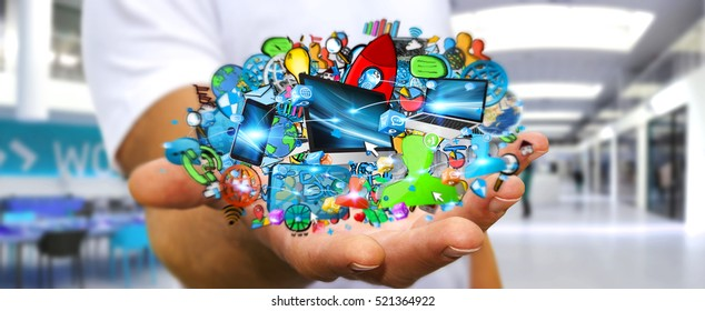 Businessman connecting tech devices and icons applications with each other 3D rendering