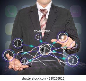 businessman with connection technology