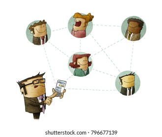 Businessman connects with other people through his smartphone. networking concept. isolated