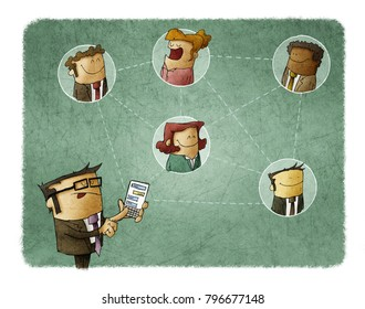 Businessman connects with other people through his smartphone. networking concept