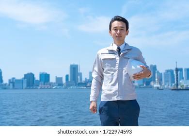 Businessman in construction clothes portrait