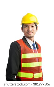 Businessman with construction helmet Isolated on over white background
