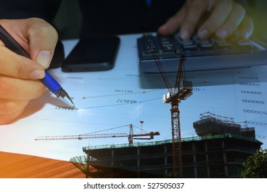 Businessman construction planning graph analysis