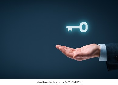 Businessman (consultant, coach, leader, customer service, CEO or another business person) offer key to success or solution. Turnkey solution and services concept.