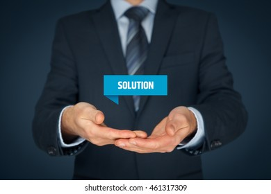 Businessman, consultant or support employee give you a business solution (helping hand).