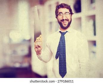 businessman with cork board