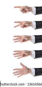 businessman counting hands on white background