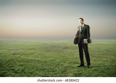 A businessman in the countryside