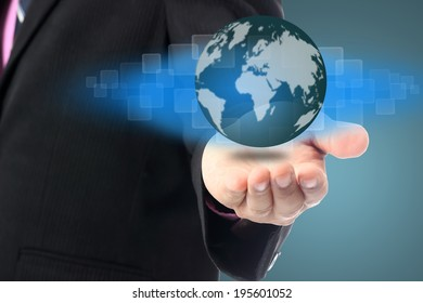 Businessman cover global business internet with hands