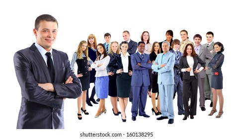 Businessman with coworkers.