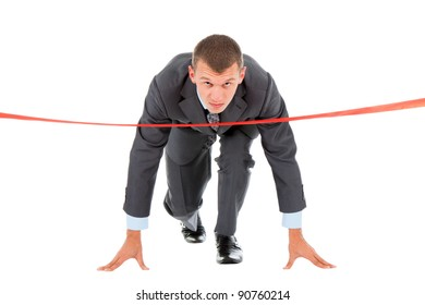 Businessman crossing finish line, wear modern suit, stand ready in start position, isolated over white background