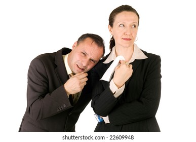 businessman crying, upset businesswoman giving him a handkerchief