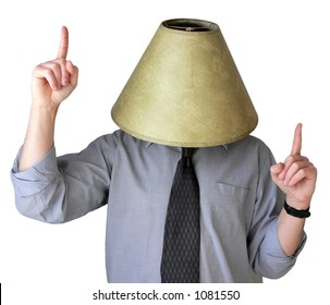 Businessman dancing around with a lampshade on his head.