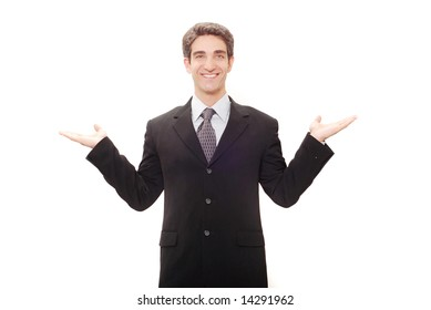 Businessman in dark suit giving a speech