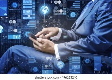 Businessman in data management concept