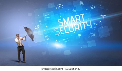 Businessman defending with umbrella from cyber attack and SMART SECURITY inscription, online security concept