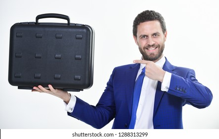 Businessman demonstrate briefcase. Business conference. Business attributes. Justification for proposed project or expected commercial benefit. Man hold briefcase. Business profit. Commercial offer.