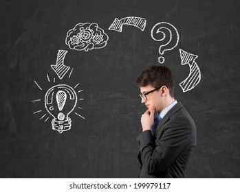 Businessman is developing a new strategy to start up a new business and trying to assess the risks.