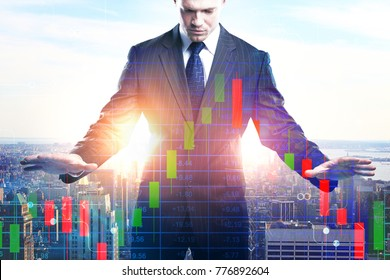 Businessman with digital business chart on abstract city background. Finance and economy concept. Double exposure