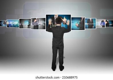 businessman with digital image on future