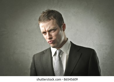 Businessman with disappointed expression