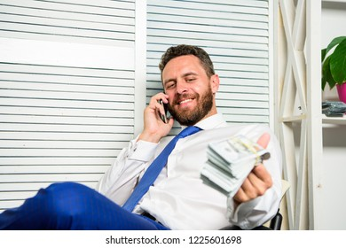 Businessman discuss successful deal. Fraudster speak mobile phone. Financial fraud crime. Man earn money on mobile conversation fraud. Blackmail and money extortion. Illegal money profit concept.
