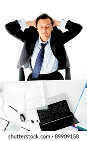Businessman is distracted while on the job