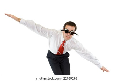 Businessman diving or falling down - isolated
