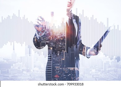 Businessman with document in hand drawing abstract business chart bars on bright city background. Trade concept. Double exposure