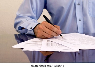 businessman doing paperwork
