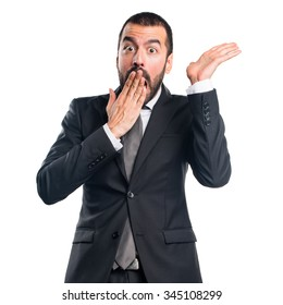 Businessman doing surprise gesture