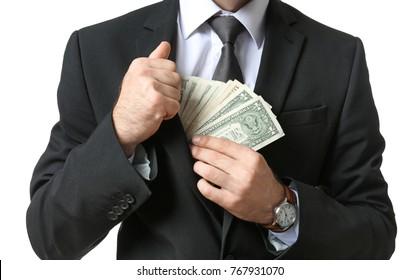 Businessman with dollar bills on white background, closeup