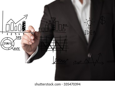 Businessman Draw Grape on Transparent Screen