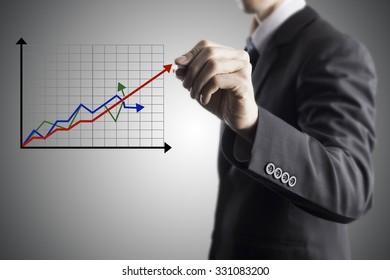 Businessman Draw Increase Revenue Graph On Transparent Screen